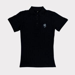 Juodi moteriški golfo polo marškinėliai