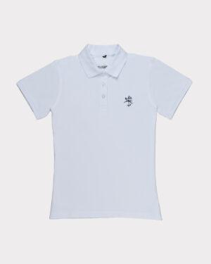 Balti moteriški golfo polo marškinėliai