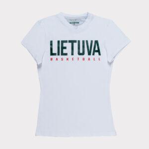 """Balti moteriški marškinėliai """"Lietuva"""" trumpomis rankovėmis"""
