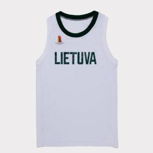 """Žaidybiniai berankoviai balti krepšinio marškinėliai """"Lietuva"""" be numerio"""