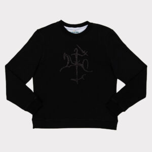 Juodas moteriškas megztinis su blizgančiu Vyčiu