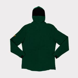 Žalias plonas vyriškas krepsinio bliuzonas su gobtuvu.