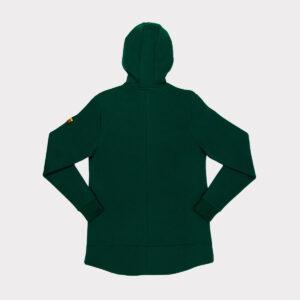 Žalias storas vyriškas bliuzonas su gobtuvu.