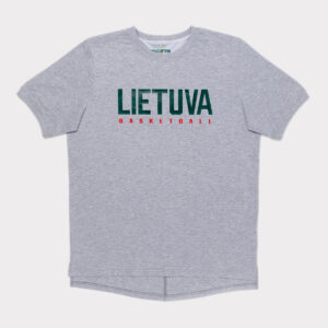 """Pilki prailginti vyriški laisvalaikio marškinėliai """"Lietuva"""" krepsinio"""