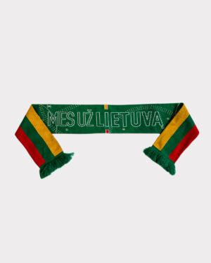 """Žalias šalikas su užrašu """"Mes už Lietuvą"""", vidinė pusė - Lietuvos vėliavos"""