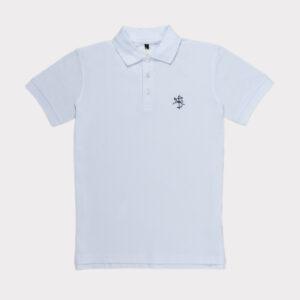 Balti vyriški golfo polo marškinėliai
