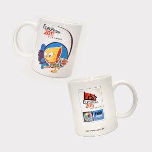 """Baltas keramikinis puodelis """"Amberis"""" Eurobasket 2011"""