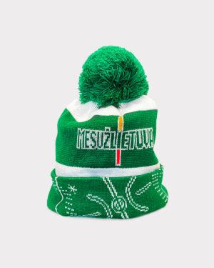 """Žaliai balta žieminė kepurė """"Mes už Lietuvą"""""""