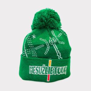 """Žalia žieminė kepurė """"Mes už Lietuvą"""""""