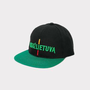 """Juodai žalia snap-back kepurė """"Mes už Lietuvą"""""""
